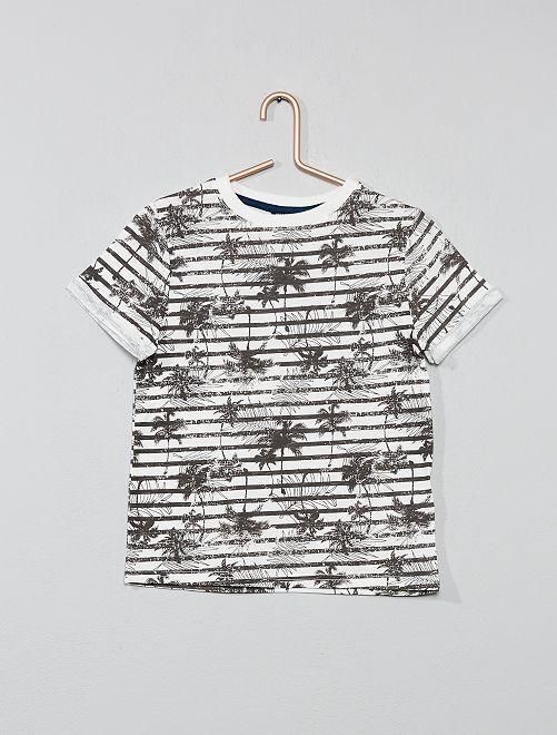 Camiseta de rayas 'palmera'                     BEIGE Chico