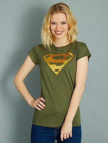 Mujer talla 34 to 48 - Camiseta de 'Superman' con lentejuelas reversibles - Kiabi