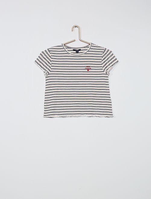 Camiseta de tejido de crepé                             AZUL