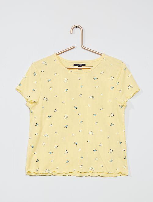 Camiseta de tejido de crepé                                                     BLANCO