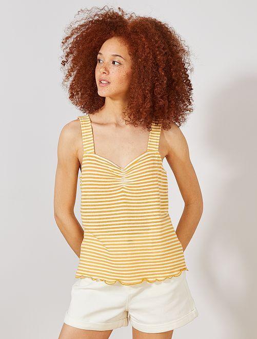 Camiseta de tirantes a rayas de punto efecto tricotado                                                                 AMARILLO Mujer talla 34 a 48