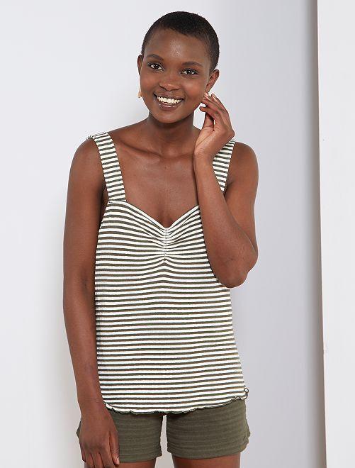 Camiseta de tirantes a rayas de punto efecto tricotado                                                                 KAKI Mujer talla 34 a 48