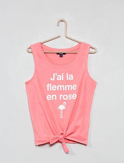 Camiseta de tirantes anudada                                 ROSA