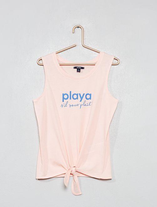 Camiseta de tirantes anudada                                                     ROSA Joven niña