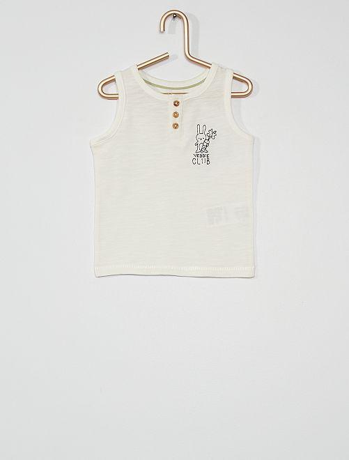 Camiseta de tirantes con bordado de 'conejo'                                         BLANCO
