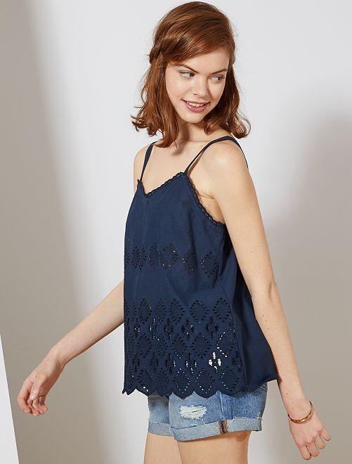 Camiseta de tirantes con bordado inglés                                                                 AZUL Mujer talla 34 a 48