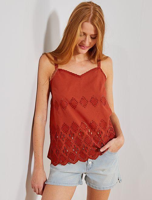 Camiseta de tirantes con bordado inglés                                                     rojo teja Mujer talla 34 a 48