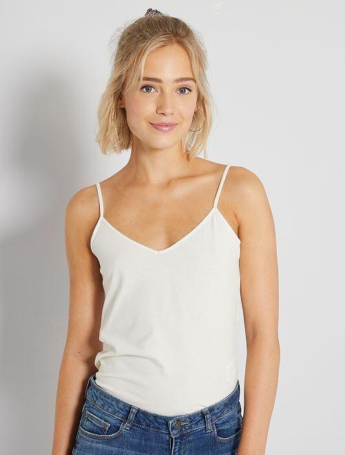 Camiseta de tirantes con cuello de pico                                                                                                                             blanco nieve Mujer talla 34 a 48