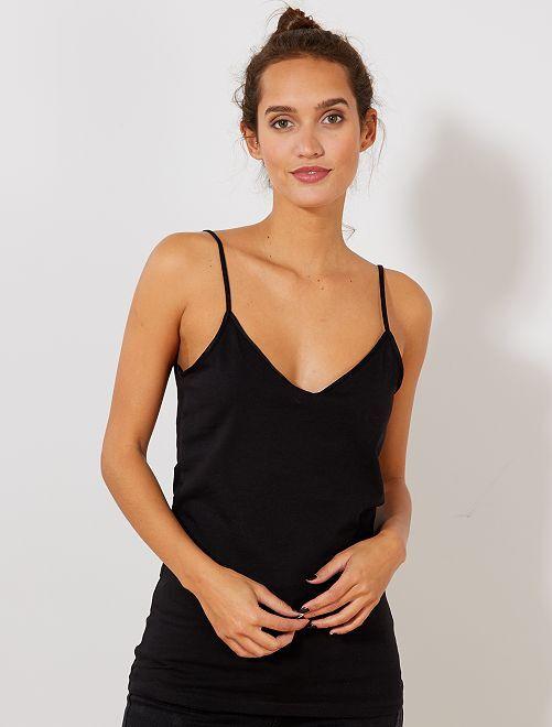 Camiseta de tirantes con cuello de pico                                                                                         negro