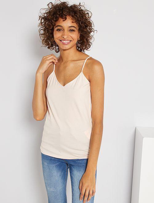 Camiseta de tirantes con cuello de pico                                                                                         ROSA