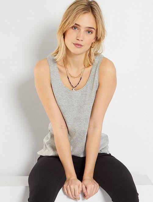 Camiseta de tirantes con cuello en U eco-concepción                                                                                                                                                     GRIS