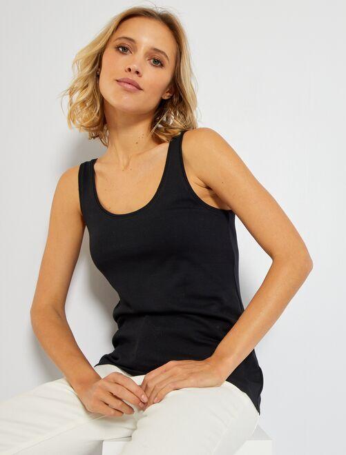 Camiseta de tirantes con cuello en U eco-concepción                                                                                                                                                     negro