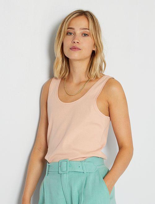Camiseta de tirantes con cuello en U eco-concepción                                                                                                                                                     ROSA