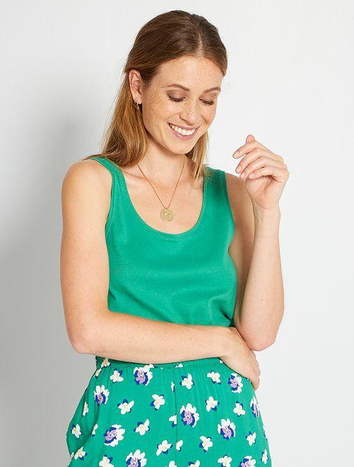 Camiseta de tirantes con cuello en U eco-concepción                                                                                                                                                     verde