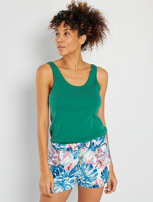 Camiseta de tirantes con cuello en U eco-concepción                                                                             verde pino