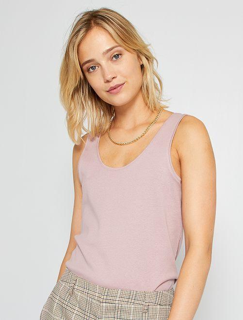 Camiseta de tirantes con cuello en U eco-concepción                                                                                                                                                     violeta oscuro