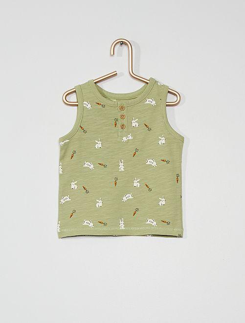 Camiseta de tirantes con estampado de 'conejos'                                         VERDE