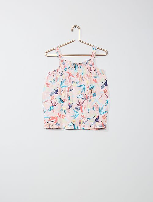 Camiseta sin mangas estampada eco-concepción                     ROSA