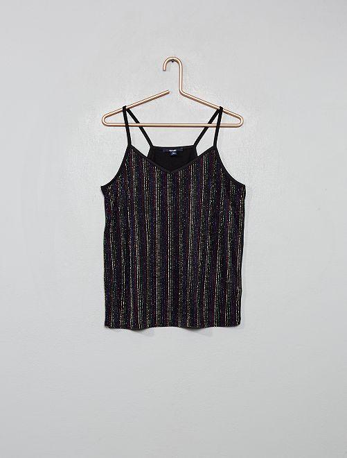 Camiseta de tirantes con rayas brillantes                             NEGRO