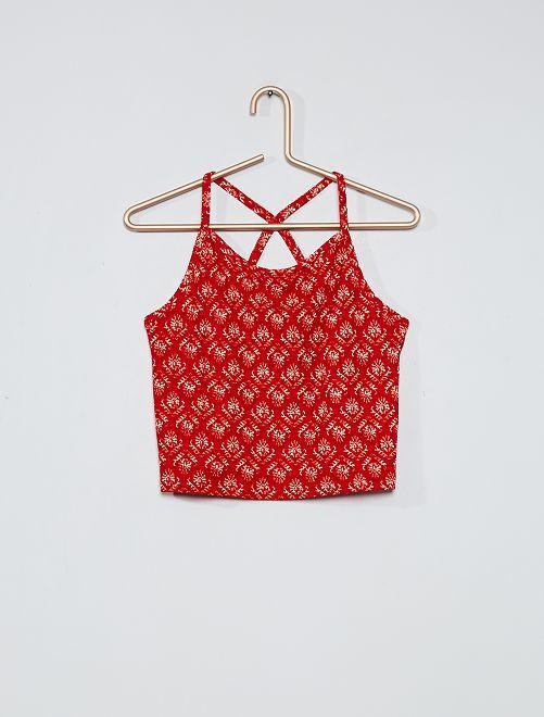 Camiseta de tirantes corta de crepé                             estampado rojo