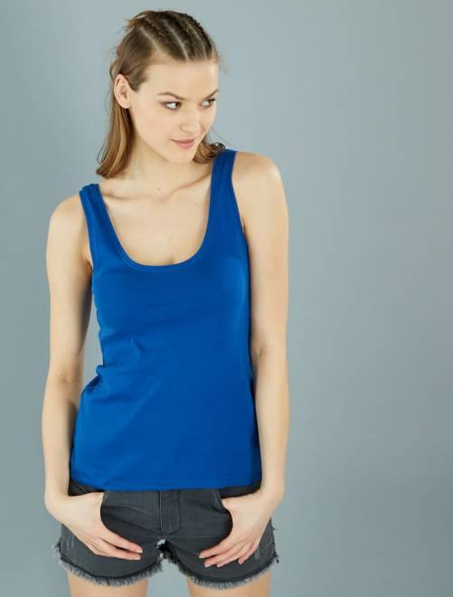 a0b3be26876 Camiseta de tirantes cuello U Mujer talla 34 a 48 - azul oscuro ...