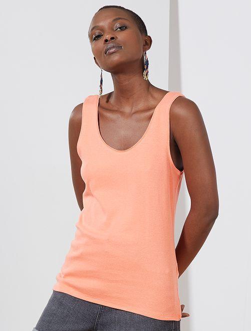 Camiseta de tirantes cuello U                                                                                                                 naranja coral