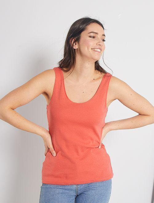 Camiseta de tirantes cuello U                                                                                                                                         rosa naranja