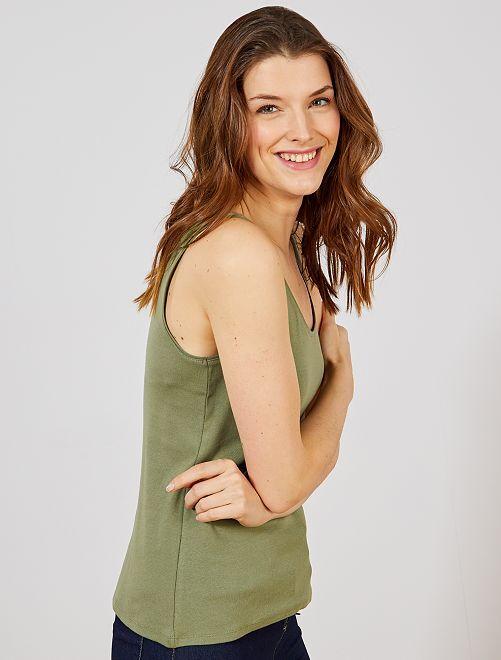Camiseta de tirantes cuello U                                                                                                                                                                                                                                                     verde liquen Mujer talla 34 a 48