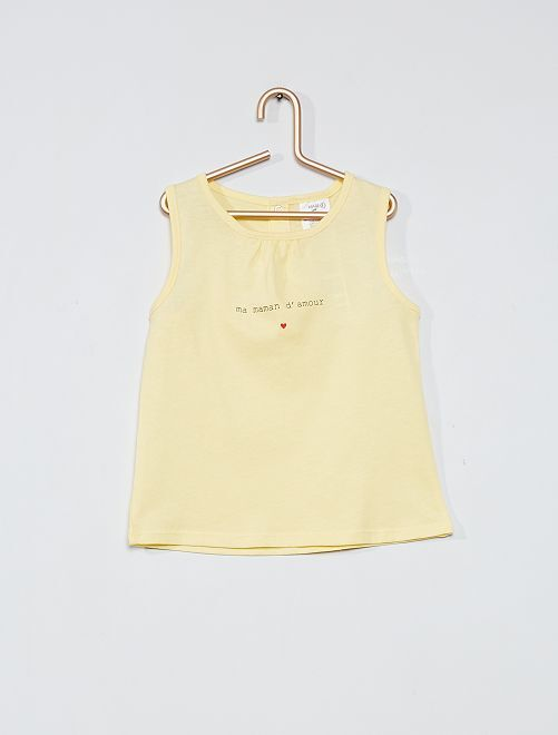 Camiseta de tirantes de algodón                                 AMARILLO