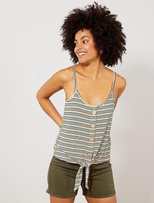 Camiseta de tirantes de canalé anudada y con botones grandes                                                                 BEIGE Mujer talla 34 a 48