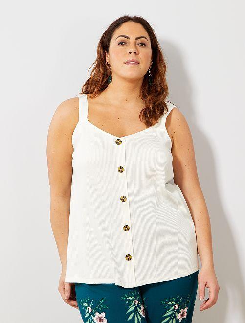 Camiseta de tirantes de canalé con botones                                                                 blanco nieve Tallas grandes mujer