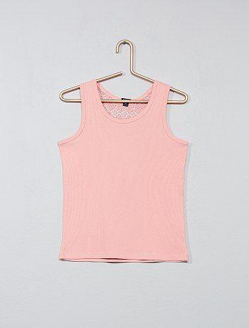 Camiseta de tirantes de canalé con espalda de macramé - Kiabi
