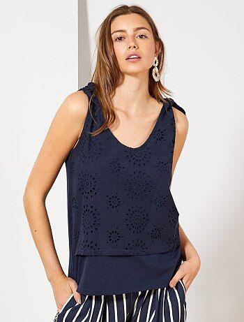 e5996d304 Mujer talla 34 a 48 - Camiseta de tirantes de efecto 2 en 1 con bordado