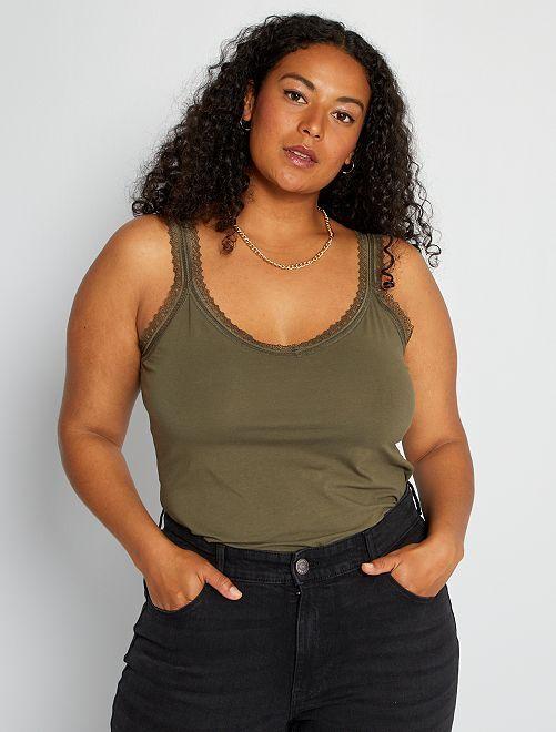 Camiseta de tirantes de encaje                                                                 KAKI
