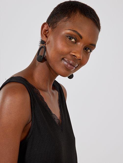 Camiseta de tirantes de encaje                                         negro Mujer talla 34 a 48