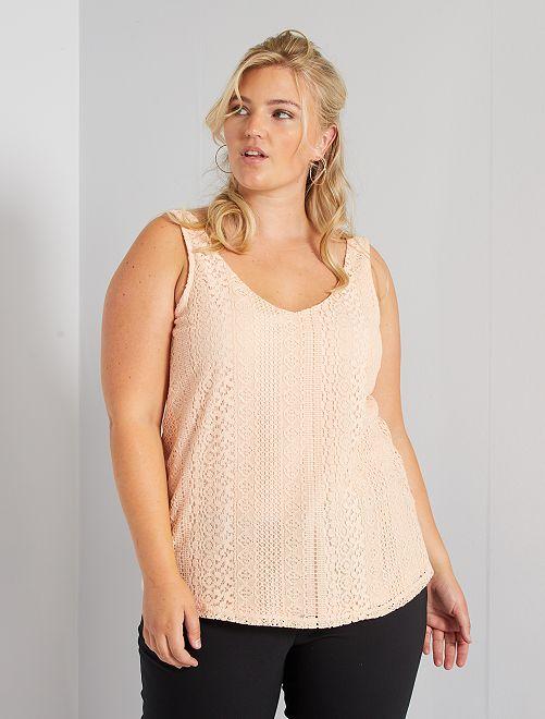Camiseta de tirantes de encaje                                                                 ROSA