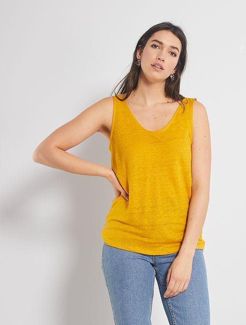 Camiseta de tirantes de lino                             AMARILLO