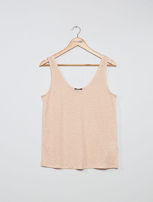 Camiseta de tirantes de lino                     BEIGE
