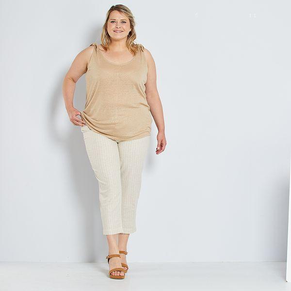 Camiseta De Tirantes De Lino Tallas Grandes Mujer Beige Kiabi 8 00