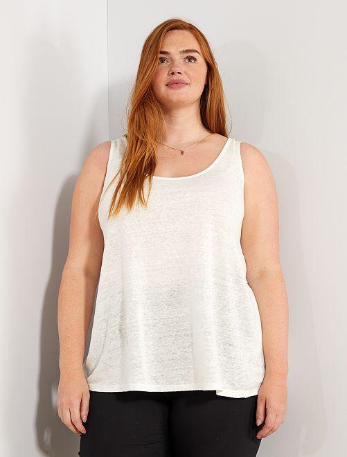 Camiseta de tirantes de lino con cuello redondo                                 blanco nieve