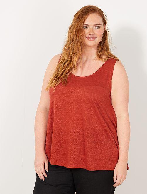 Camiseta de tirantes de lino con cuello redondo                                                                 rojo ocre Tallas grandes mujer