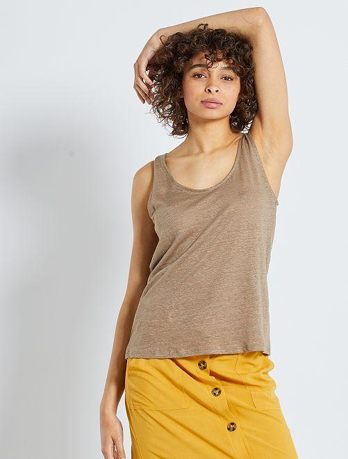 Camiseta de tirantes de lino                                                     gris beige