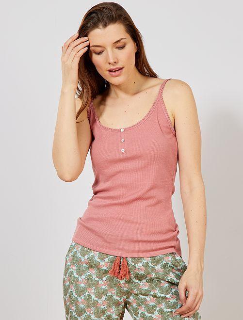 8b21595fa Camiseta de tirantes de pijama Lencería de la s a la xxl - BEIGE ...
