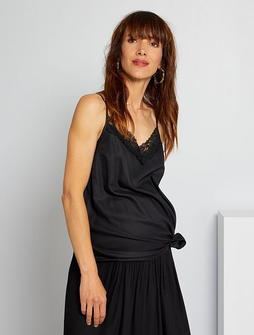 Camiseta de tirantes de premamá con encaje                                         negro