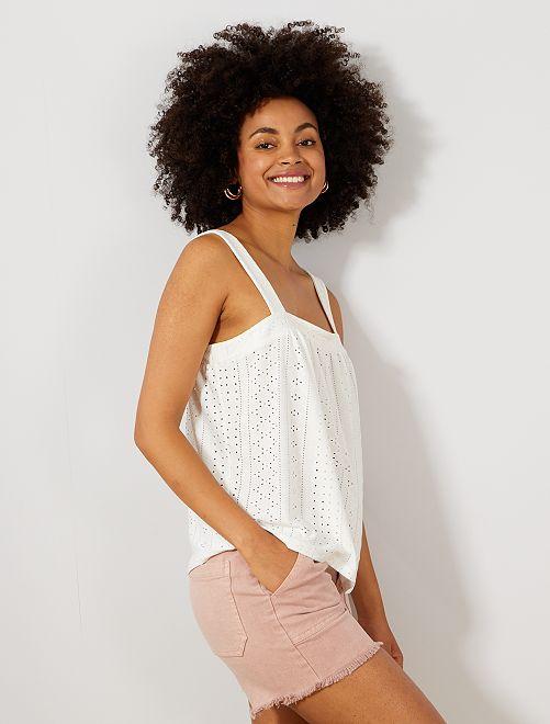 Camiseta de tirantes de punto calado                                         blanco nieve Mujer talla 34 a 48