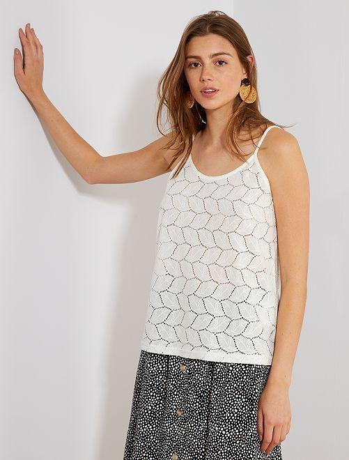 Camiseta de tirantes de punto calado 'JDY'                                                     blanco Mujer talla 34 a 48