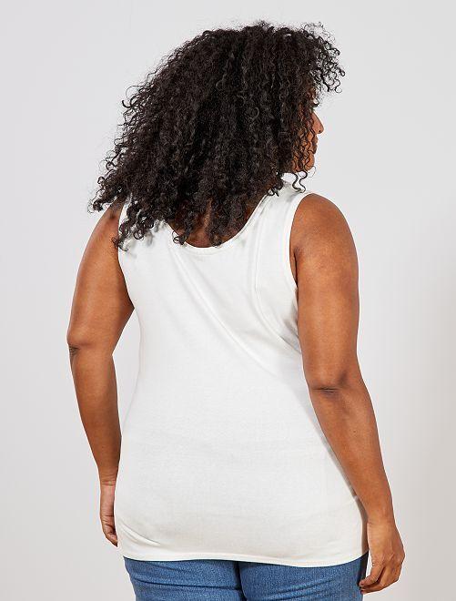 ce1f2f66c Camiseta de tirantes de punto con cuello en U Tallas grandes mujer ...
