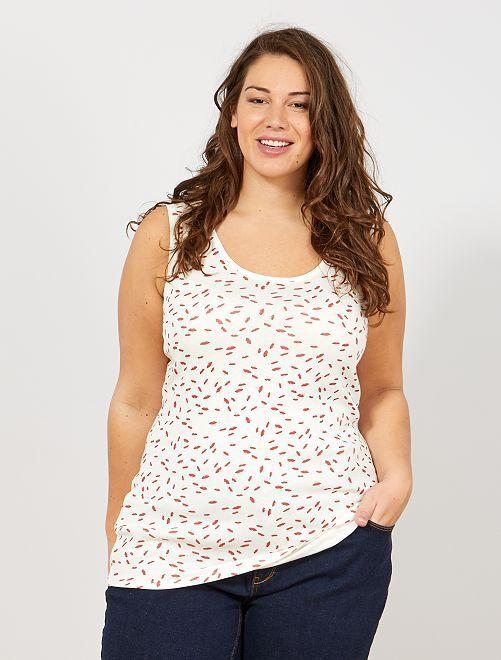 23d06dfe4 Camiseta de tirantes de punto con cuello en U Tallas grandes mujer ...