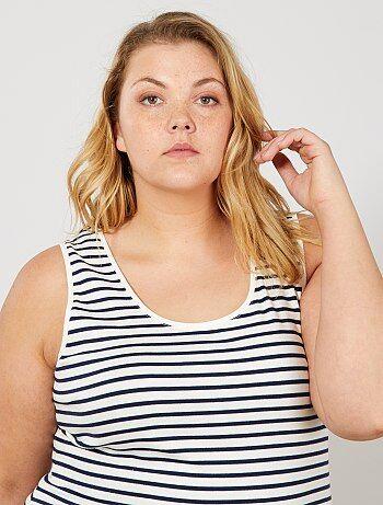 Tallas grandes mujer - Camiseta de tirantes de punto con cuello en U - Kiabi 11d2c1a613c4