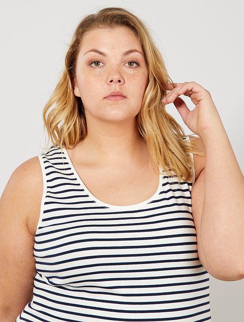 Camiseta de tirantes de punto con cuello en U                                                                                         BLANCO Tallas grandes mujer